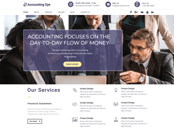 Free Finance Accounting WordPress theme