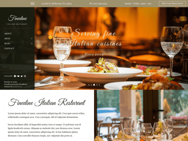 Free Finedine Wordpress theme