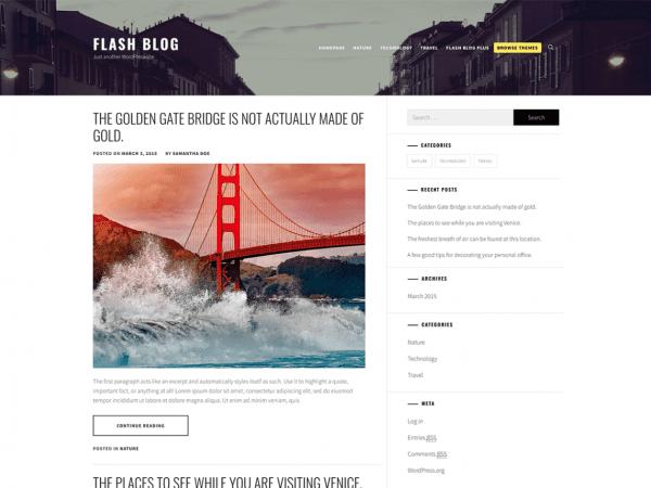 Free Flash Blog WordPress theme