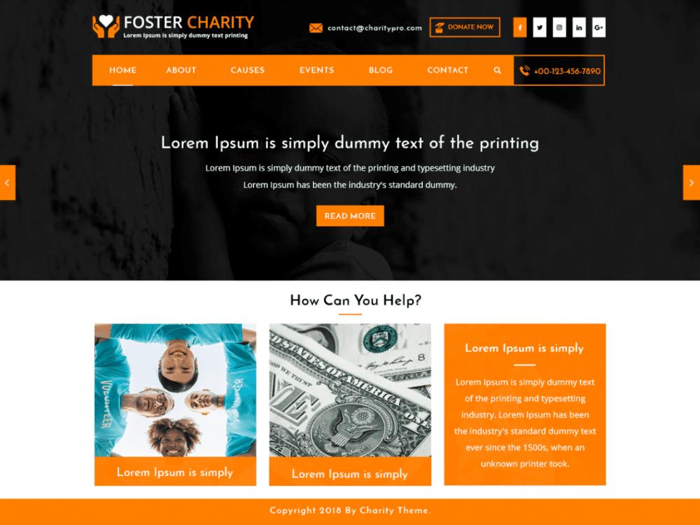Free Foster Charity WordPress theme
