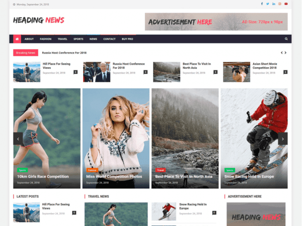 Free Heading News WordPress theme