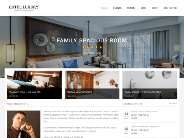 Free Hotel Luxury Wordpress theme