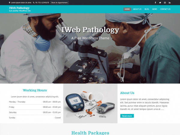 Free IWeb Pathology WordPress theme