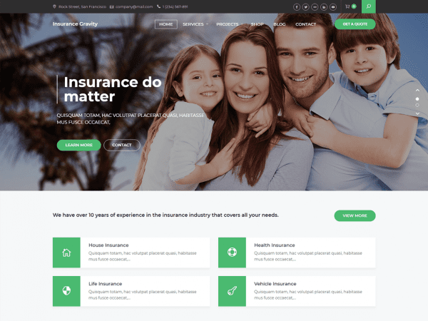 Free Insurance Gravity Wordpress theme