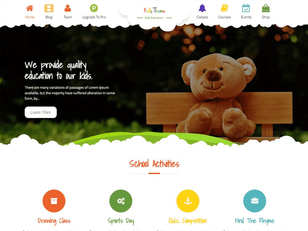 Free Kids Education WordPress theme