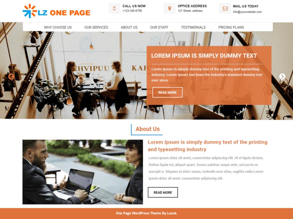 Free LZ One Page WordPress theme