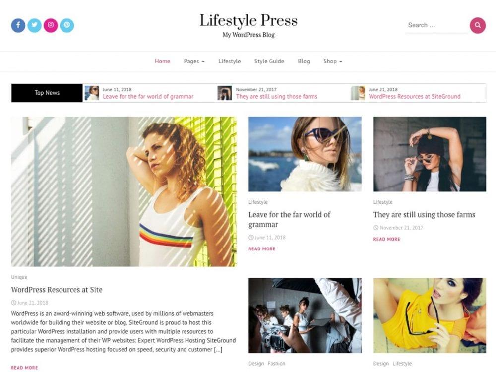 Free Lifestyle Press WordPress theme