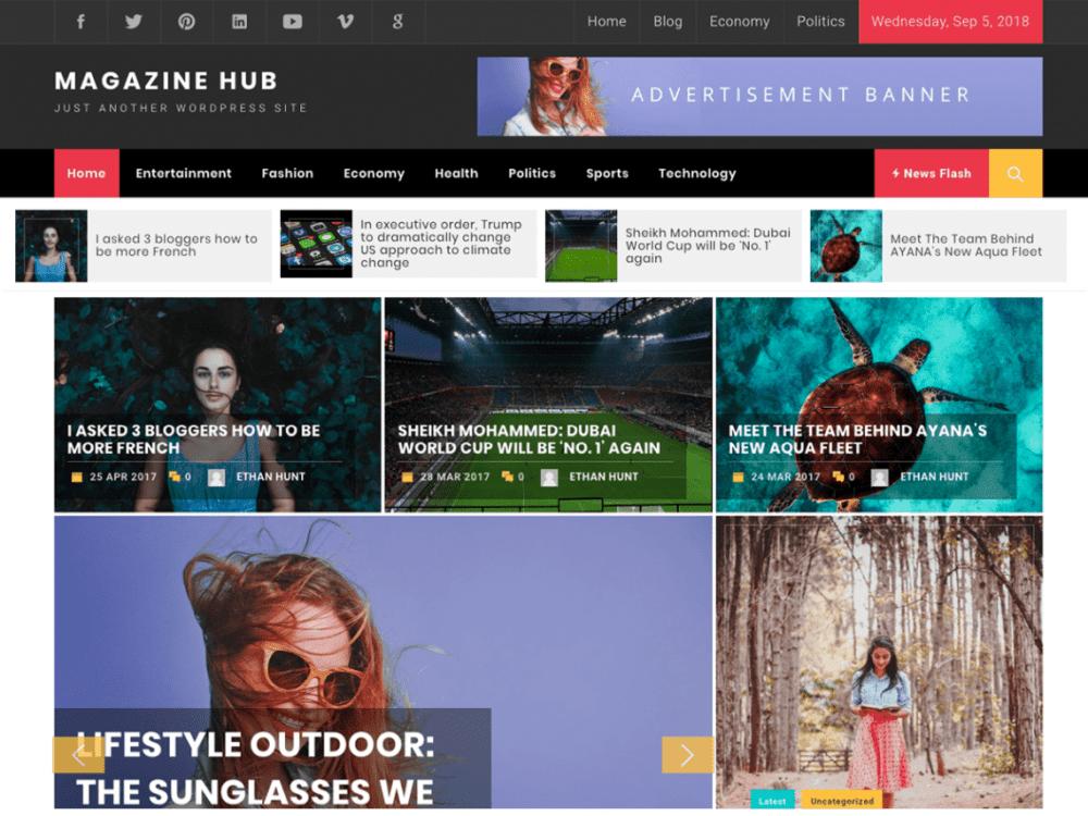 Free Magazine Hub WordPress theme