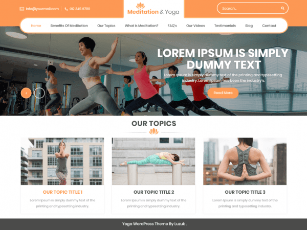 Free Meditation And Yoga WordPress theme