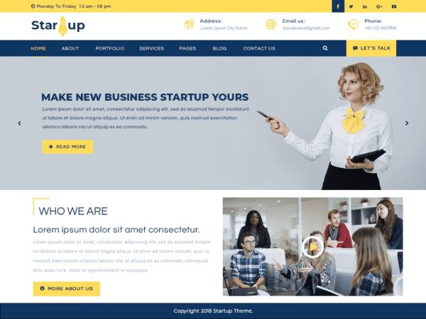 Free Multipurpose Startup WordPress theme