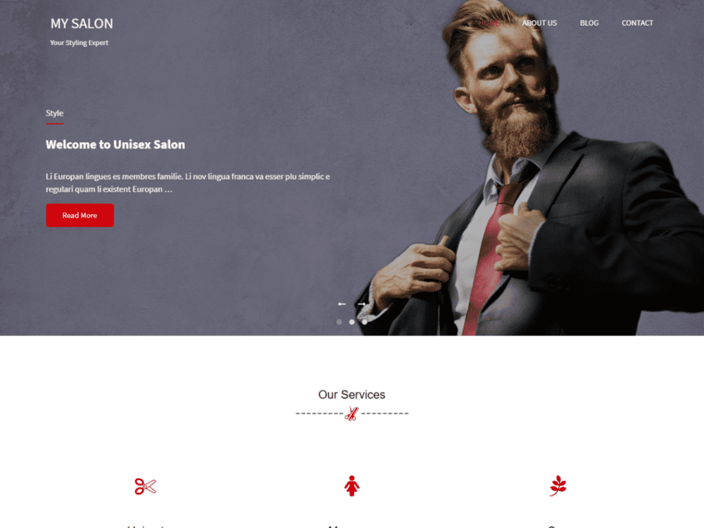 Free My Salon WordPress theme