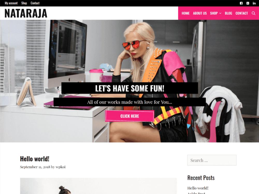 Free Nataraja WordPress theme