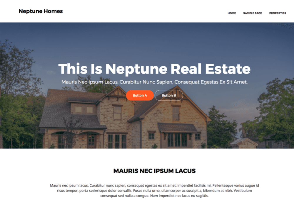 Free Neptune Real Estate WordPress theme