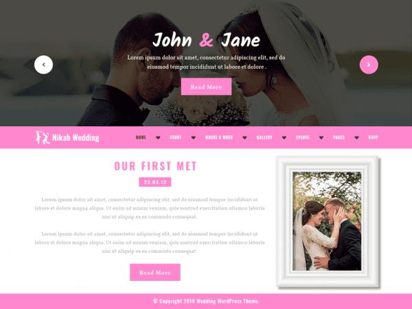 Free Nikah Wedding Wordpress theme
