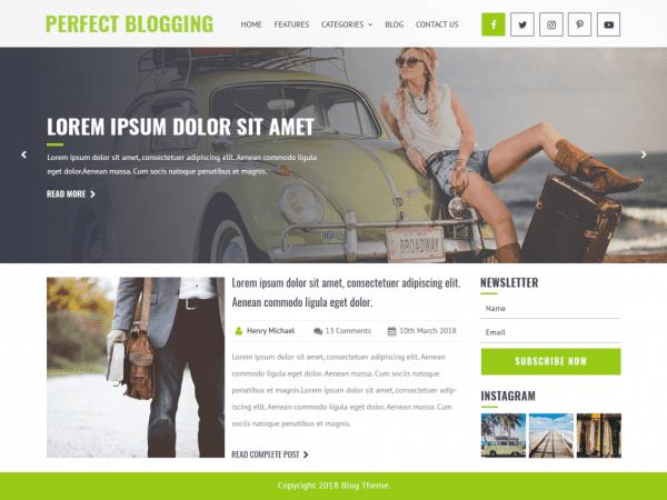 Free Perfect Blogging WordPress theme