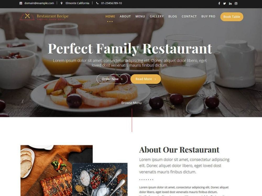 Free Restaurant Recipe WordPress theme