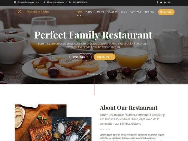 Free Restaurant Recipe WordPress theme