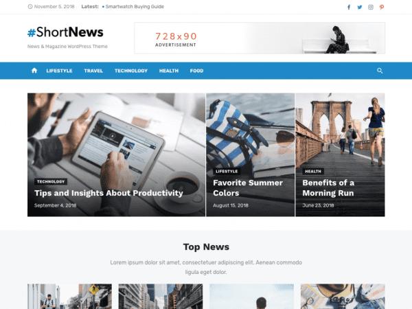Free Short News WordPress theme