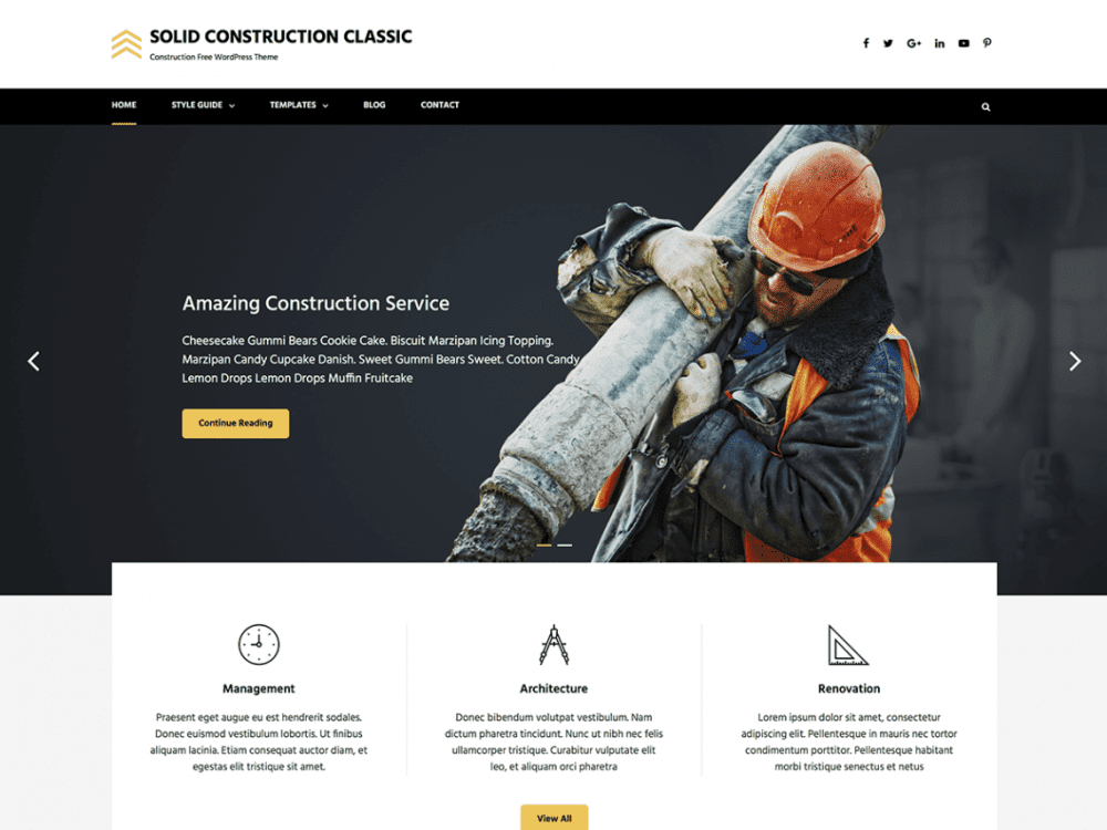 Free Solid Construction Classic WordPress theme