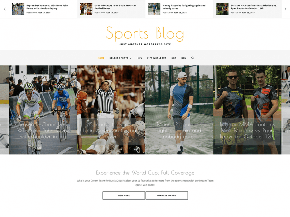 Free Sports Blog WordPress theme