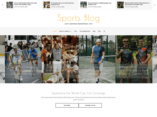 Free Sports Blog WordPress theme