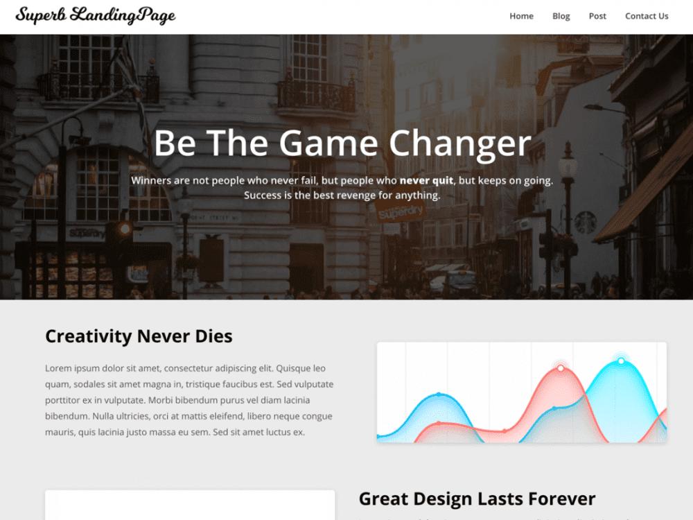 Free Superb Landingpage WordPress theme