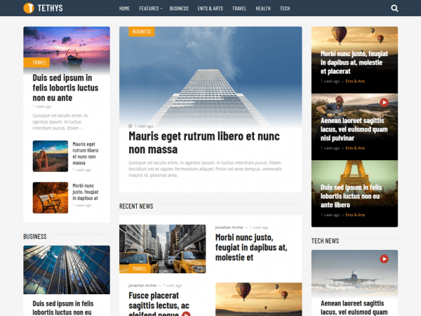 Free Tethys WordPress theme