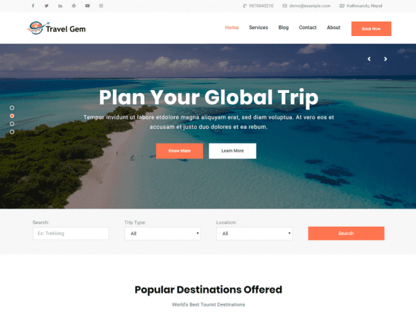 Free Travel Gem WordPress theme