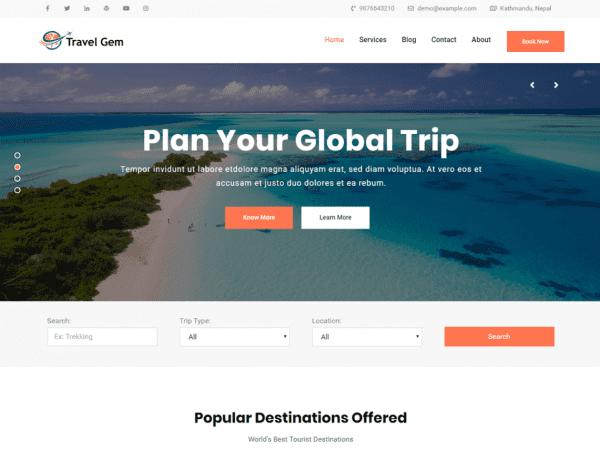 Free Travel Gem WordPress theme