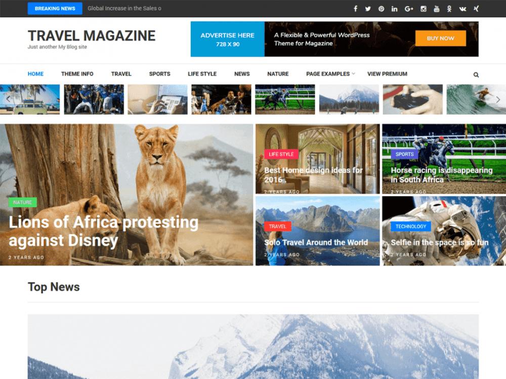 Free Travel Magazine WordPress theme