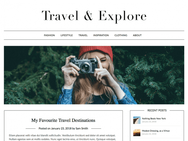 Free Travel Minimalist Blogger WordPress theme