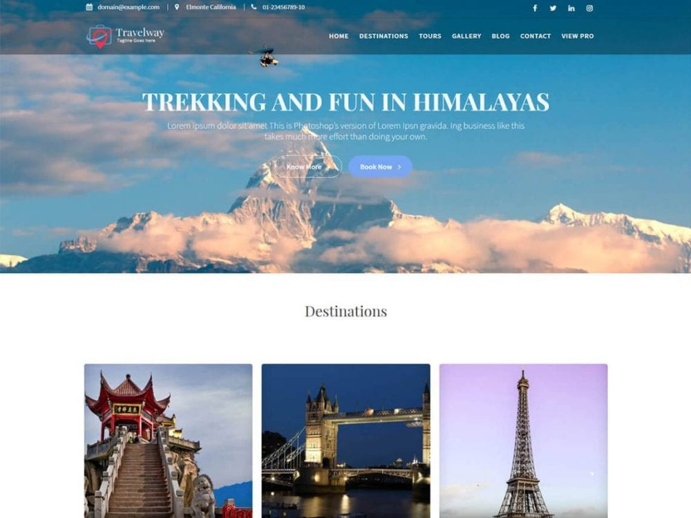 Free Travel Way WordPress theme