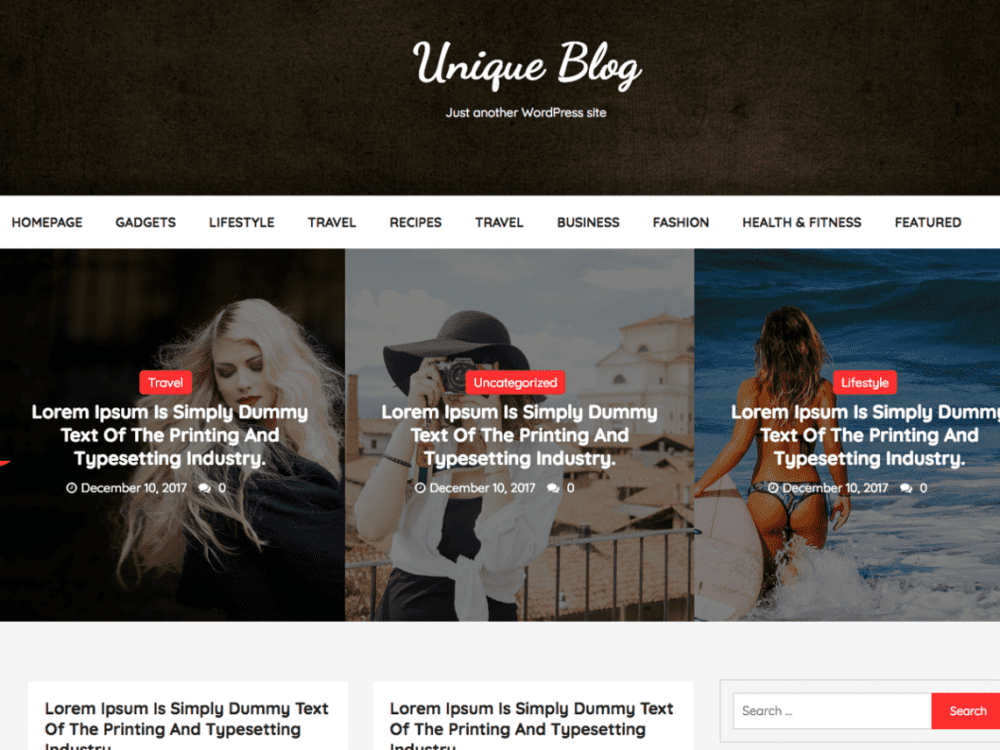 Free Unique Blog WordPress theme