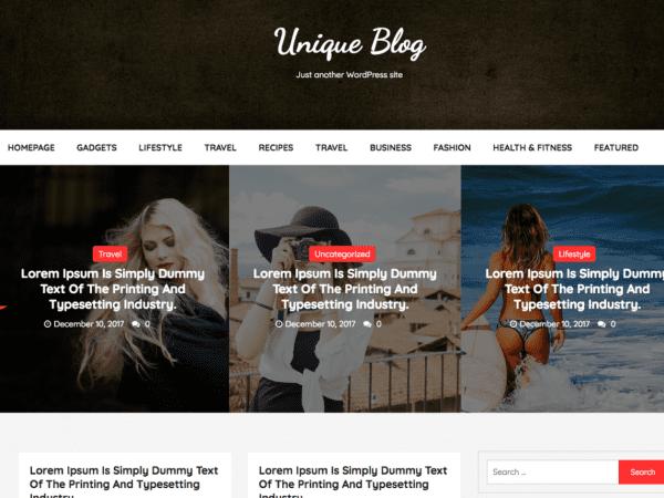 Free Unique Blog WordPress theme