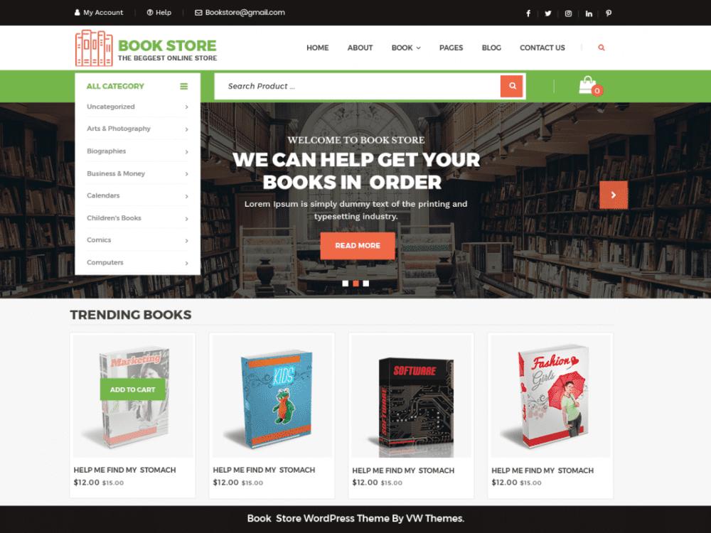 Free VW Book Store WordPress theme