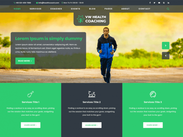 Free VW Health Coaching WordPress theme