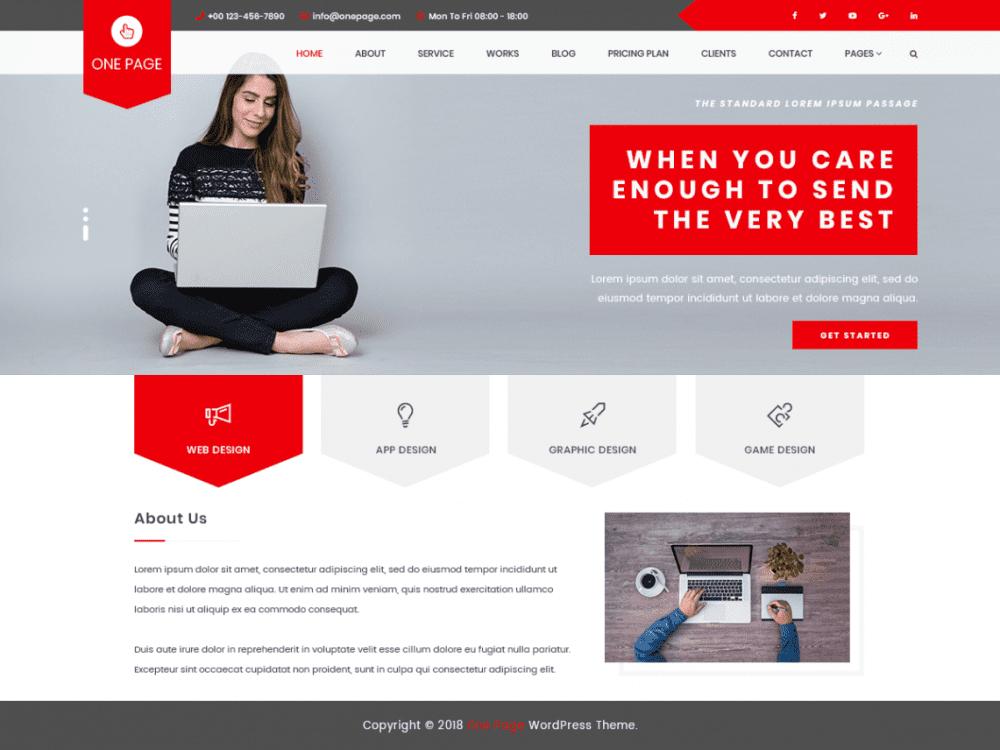 Free VW One Page WordPress theme