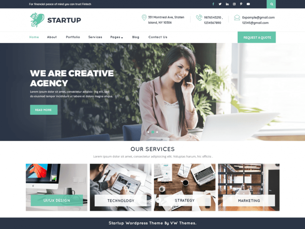 Free VW Startup WordPress theme