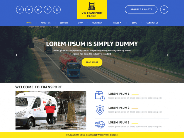 Free VW Transport Cargo WordPress theme