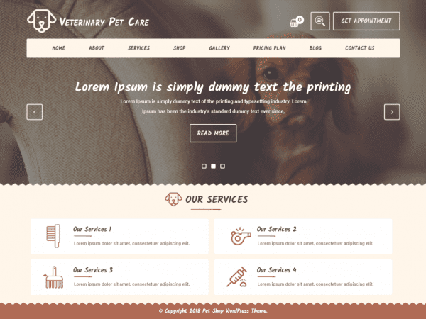 Free Veterinary WordPress theme
