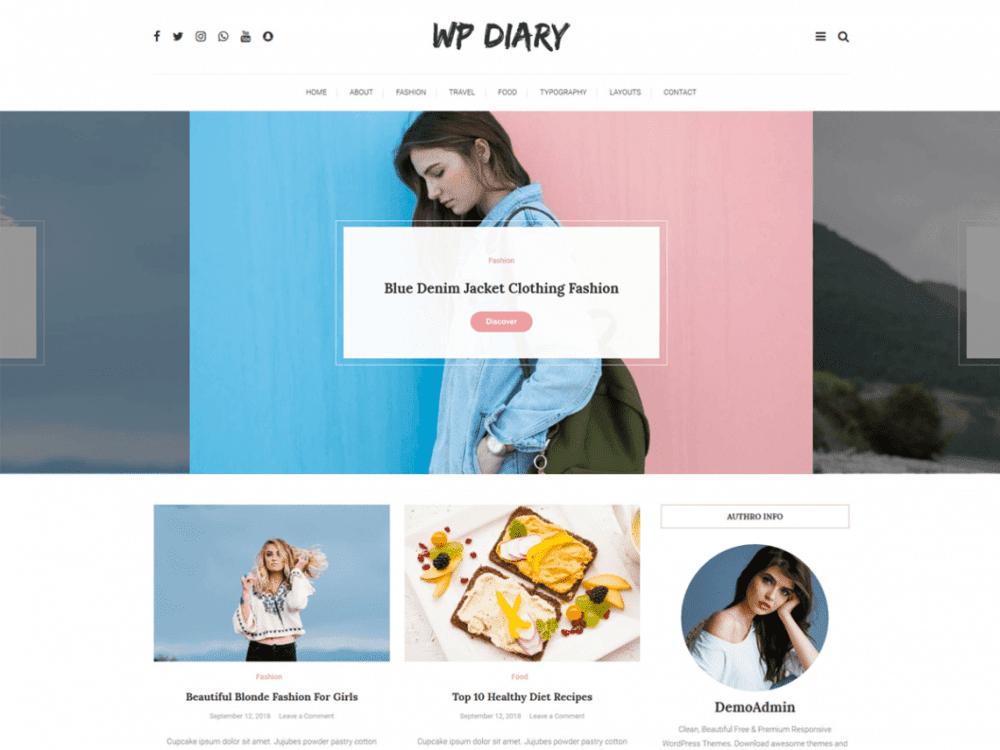 Free WP Diary WordPress theme