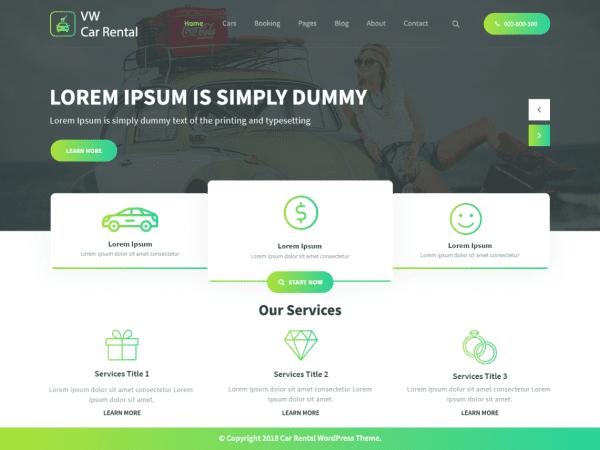 Free WW Car Rental Wordpress theme