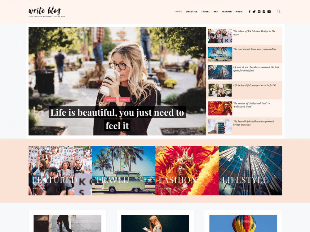 Free Write Blog WordPress theme