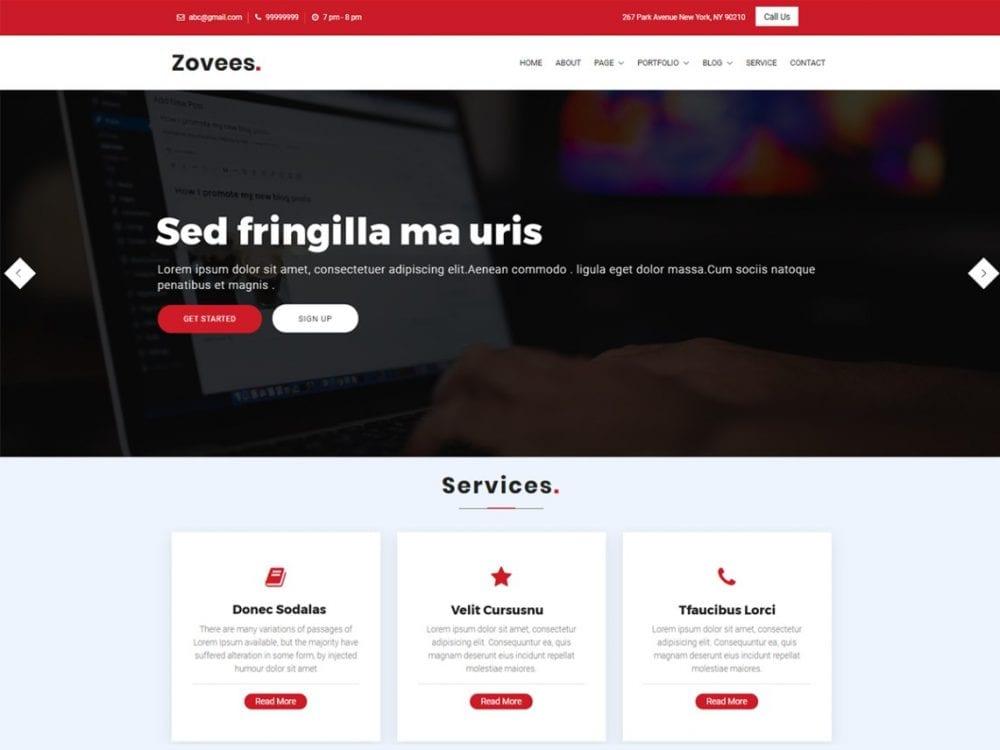 Free Zovees WordPress theme