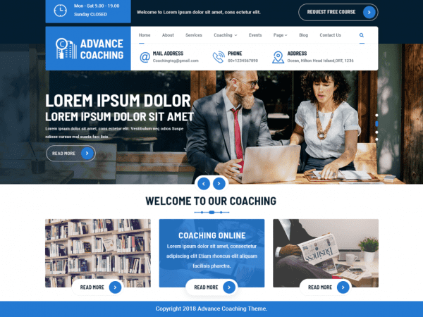 Free Advance Coaching WorPress theme