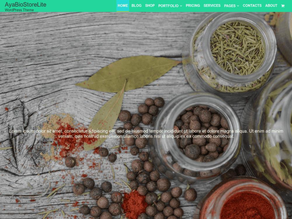 Free AyaBio Store Lite WordPress theme
