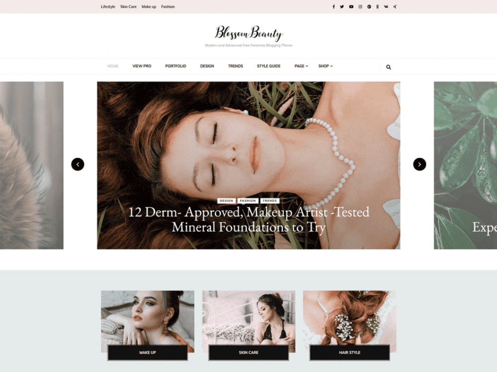 Free Blossom Beauty WordPress theme