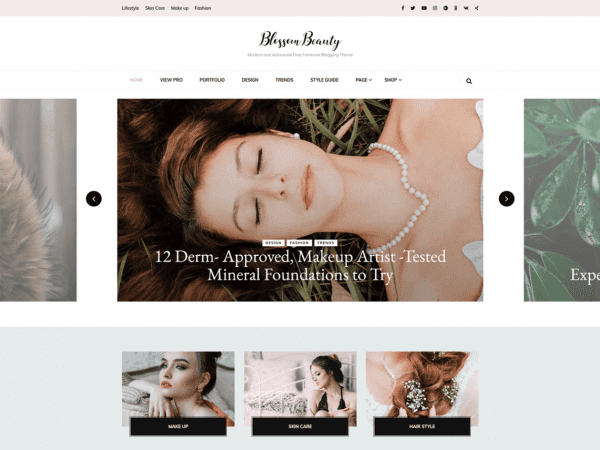 Free Blossom Beauty WordPress theme