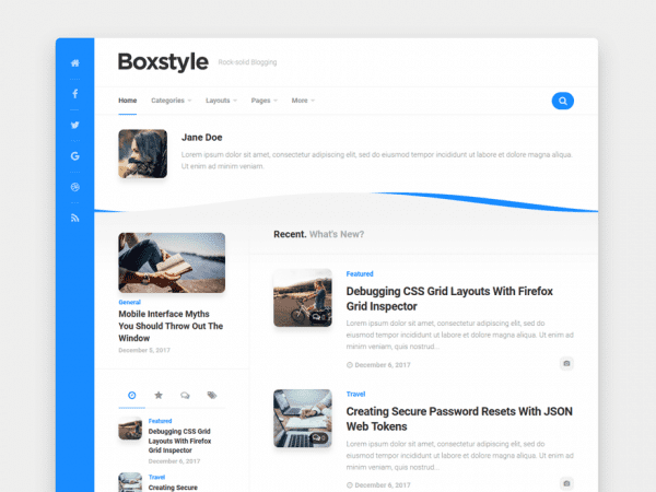 Free Boxstyle WordPress theme