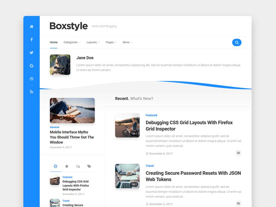 Free Boxstyle WordPress theme